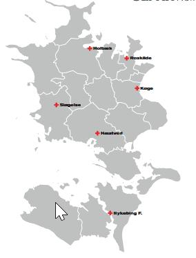 Region Zealand comprises the six hospitals Holbæk, Roskilde, Køge, Slagelse, Næstved and Nykøbing F. It is the Clinical Immunology Dept at Næstved Hospital which anchored the implementation of suPAR at regional level